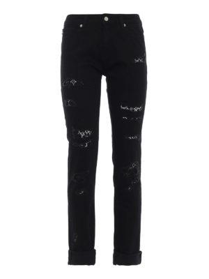 LOVE MOSCHINO: jeans skinny - Jeans con strappi e pizzo