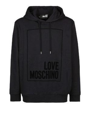 LOVE MOSCHINO: Felpe e maglie - Felpa nera con logo e cappuccio