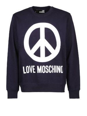 LOVE MOSCHINO: Felpe e maglie - Felpa blu con logo stampato
