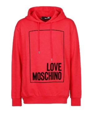 LOVE MOSCHINO: Felpe e maglie - Felpa rossa con logo e cappuccio
