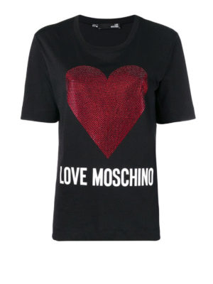 LOVE MOSCHINO: t-shirt - T-shirt in cotone con iconico cuore di strass
