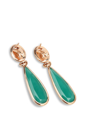 Lucos: Earrings online - Two-tone agate earrings