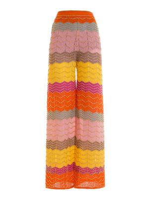 M Missoni: casual trousers - Lurex trimmed palazzo trousers