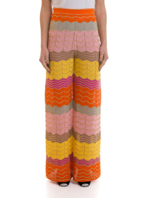 M Missoni: casual trousers online - Lurex trimmed palazzo trousers