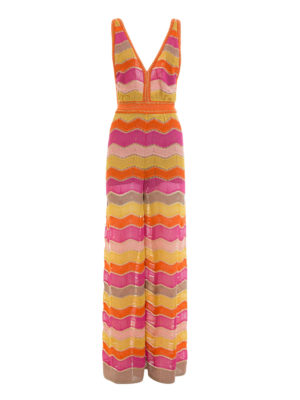 M Missoni: jumpsuits - Lurex chevron patterned jumpsuit