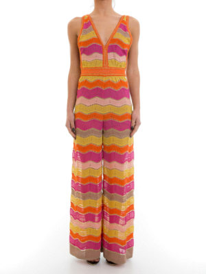 M Missoni: jumpsuits online - Lurex chevron patterned jumpsuit