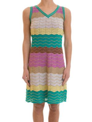 M Missoni: knee length dresses online - Chevron patterned flared dress