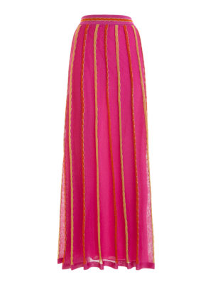 M Missoni: Long skirts - Lurex trimmed striped long skirt