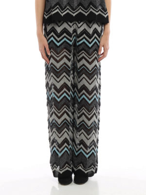 M Missoni: Tailored & Formal trousers online - Chevron patterned palazzo trousers