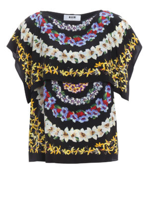 M.S.G.M.: blouses - Floral print silk blouse