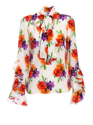 M.S.G.M.: blouses - Floral print silk frilled blouse