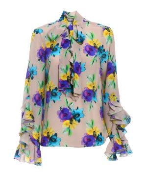 M.S.G.M.: blouses - Flower print silk frilled blouse
