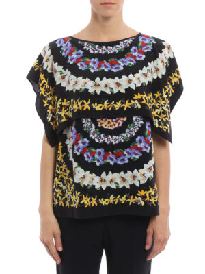 M.S.G.M.: blouses online - Floral print silk blouse