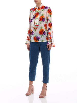 M.S.G.M.: blouses online - Floral print silk frilled blouse