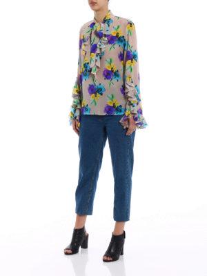 M.S.G.M.: blouses online - Flower print silk frilled blouse