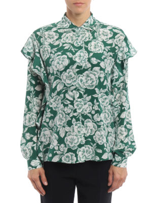 M.S.G.M.: blouses online - Ruffled floral silk blouse