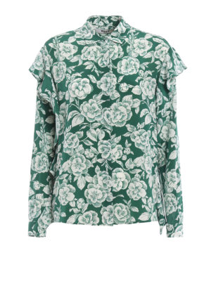 M.S.G.M.: blouses - Ruffled floral silk blouse