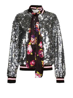 m.s.g.m.: giacche bomber - Bomber di paillettes con sciarpina floreale