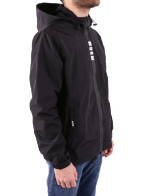 M.S.G.M.: casual jackets online - Nylon and cotton hooded windbreaker