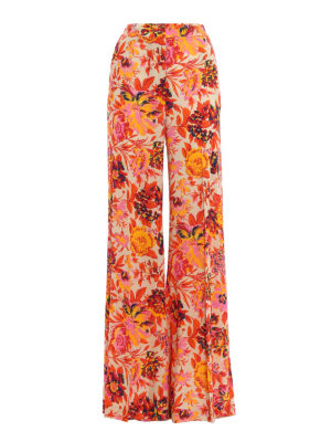 M.S.G.M.: casual trousers - Floral crepe palazzo trousers