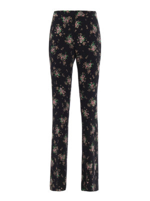 M.S.G.M.: casual trousers - Floral print cady flared trousers