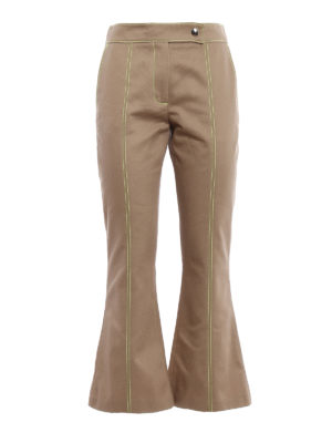 M.S.G.M.: casual trousers - Fluo stitchings flared trousers