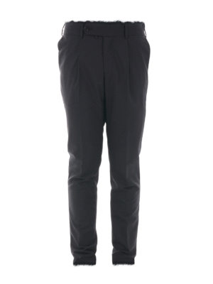 M.S.G.M.: casual trousers - Fringed wool gabardine trousers