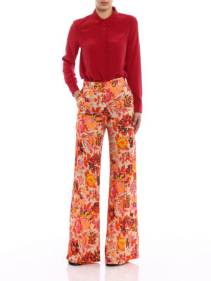 M.S.G.M.: casual trousers online - Floral crepe palazzo trousers