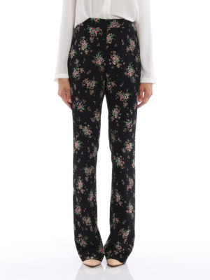 M.S.G.M.: casual trousers online - Floral print cady flared trousers