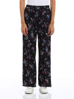 M.S.G.M.: casual trousers online - Floral print trousers