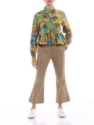 M.S.G.M.: casual trousers online - Fluo stitchings flared trousers