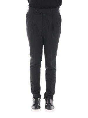 M.S.G.M.: casual trousers online - Fringed wool gabardine trousers