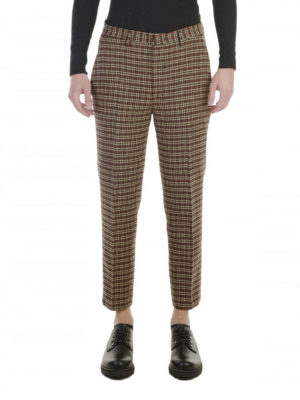 M.S.G.M.: casual trousers online - Houndstooth crop trousers