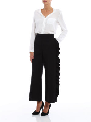 M.S.G.M.: casual trousers online - Trousers with side frill detail
