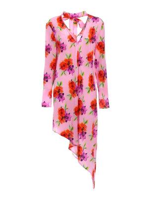 M.S.G.M.: cocktail dresses - Floral silk crepe asymmetric dress