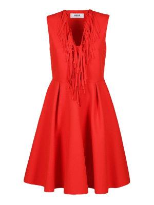 m.s.g.m.: abiti da cocktail - Abito rosso con frange