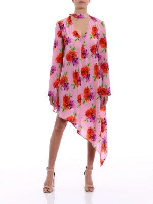 M.S.G.M.: cocktail dresses online - Floral silk crepe asymmetric dress