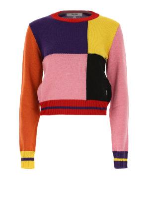 m.s.g.m.: maglia collo rotondo - Girocollo crop in misto lana colour-block