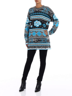 M.S.G.M.: crew necks online - Patterned wool blend over sweater