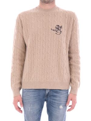 M.S.G.M.: crew necks online - Twist knitted wool blend crewneck
