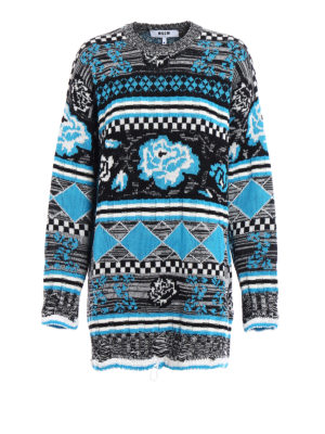 M.S.G.M.: crew necks - Patterned wool blend over sweater
