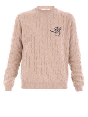 M.S.G.M.: crew necks - Twist knitted wool blend crewneck