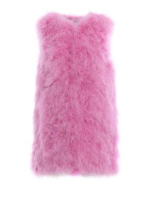 M.S.G.M.: Fur & Shearling Coats - Feather vest
