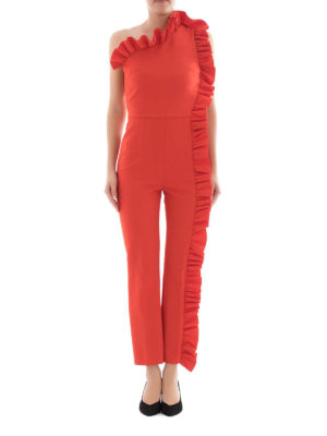 M.S.G.M.: jumpsuits online - Ruched one shoulder jumpsuit