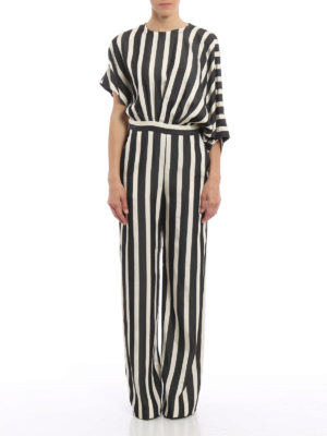 M.S.G.M.: jumpsuits online - Striped silk jumpsuit