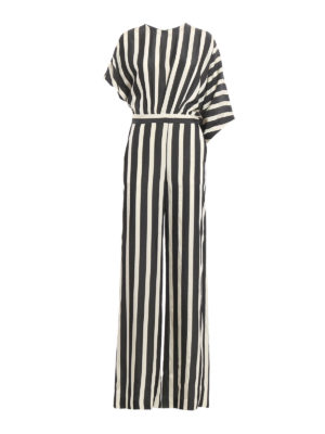 M.S.G.M.: jumpsuits - Striped silk jumpsuit