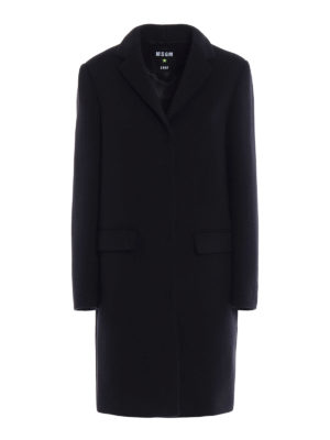 M.S.G.M.: knee length coats - Black soft wool blend coat