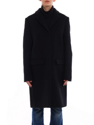 M.S.G.M.: knee length coats online - Black soft wool blend coat
