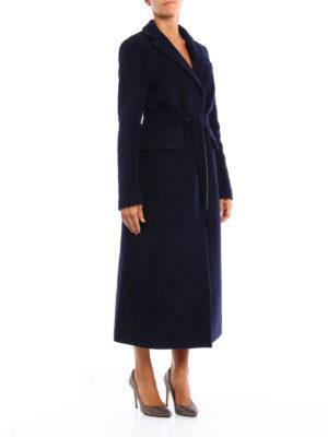 M.S.G.M.: knee length coats online - Self-belt wool blend coat