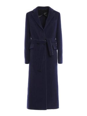M.S.G.M.: knee length coats - Self-belt wool blend coat